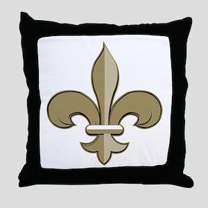 Fleur de lis black gold Throw Pillow