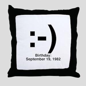 Emoticon Birthday Throw Pillow