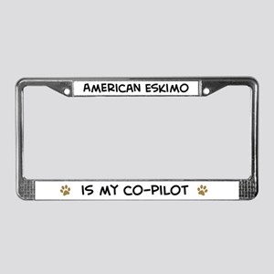 Co-pilot: American Eskimo License Plate Frame