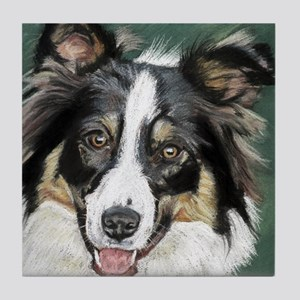 collie pup Tile Coaster