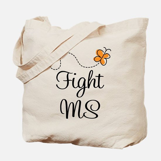 Orange Fight MS Butterfly Tote Bag