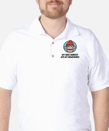 Funny Sock Monkey Golf Shirt