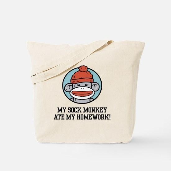 Funny Sock Monkey Tote Bag