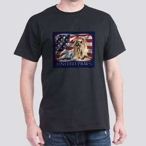 Yorkshire Terrier Patriotic USA Flag Dark T-Shirt