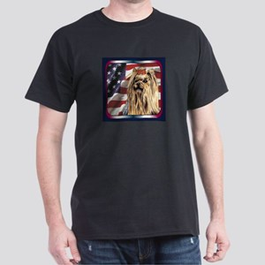 Yorkshire Terrier Yorkie USA Flag Dark T-Shirt