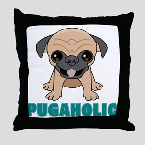 Pugaholic Cartoon Pug Throw Pillow