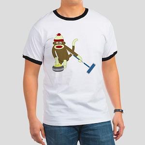 Sock Monkey Olympics Curling Ringer T-Shirt