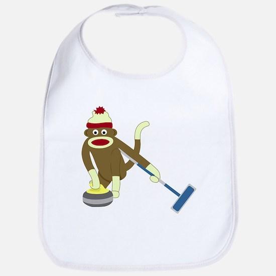 Sock Monkey Olympics Curling Baby Bib