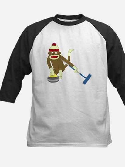 Sock Monkey Olympics Curling Kids Baseball Jersey