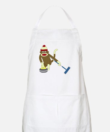 Sock Monkey Olympics Curling Apron