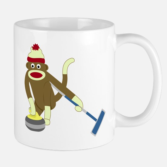Sock Monkey Olympics Curling Coffee Mug