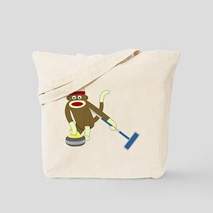 Sock Monkey Olympics Curling Tote Bag