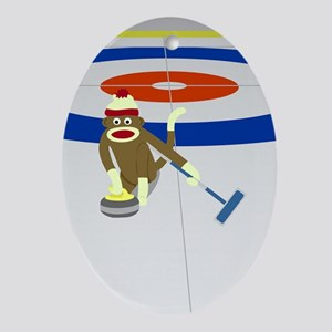 Sock Monkey Olympics Curling Ornament (Oval)