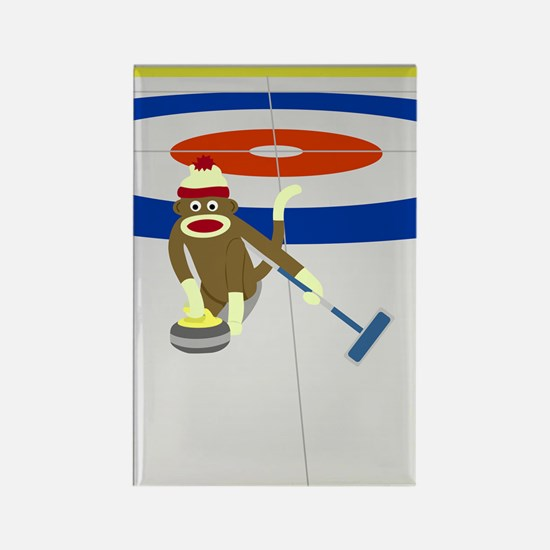Sock Monkey Olympics Curling Rectangle Magnet