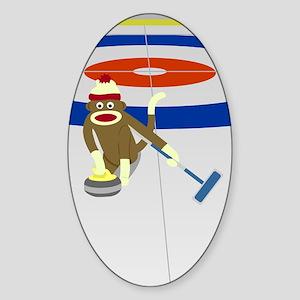 Sock Monkey Olympics Curling Sticker (Oval)