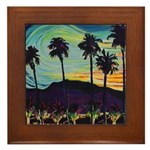 Palm Springs At Night waterco Framed Tile