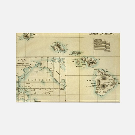 Antique Hawaii Map Rectangle Magnet