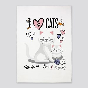 I Heart Cats 5'x7'Area Rug