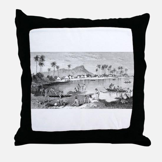 Old Waikiki Throw Pillow