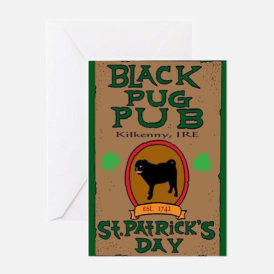 black pug pub shirt Greeting Cards