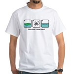 Turn Wheel. Move Island. White T-Shirt