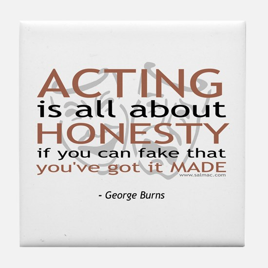 George Burns Acting Quote Tile Coaster