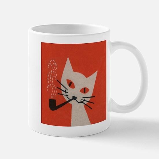 White Cat Smoking a Pipe Retro Vintage Poster Mugs