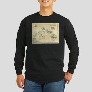 Antique Hawaii Map Long Sleeve Dark T-Shirt