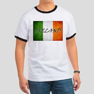 """IRELAND"" on Irish Flag Ringer T"
