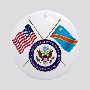 USA & DRC Flags with State Logo Ornament (Round)