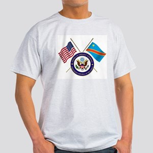 USA & DRC Flags with State Logo Light T-Shirt