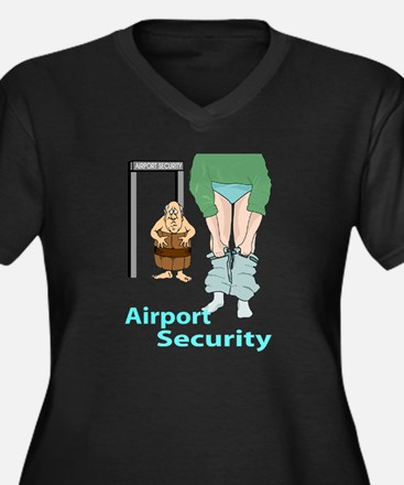 airport security Women's Plus Size V-Neck Dark T-S
