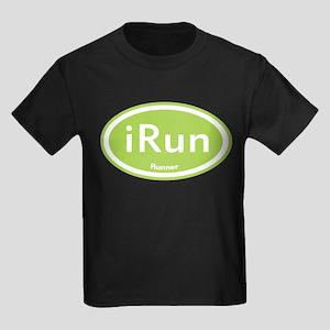 Green iRun Oval Kids Dark T-Shirt