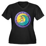 Tidal Dog Women's Plus Size V-Neck Dark T-Shirt