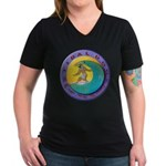 Tidal Dog Women's V-Neck Dark T-Shirt