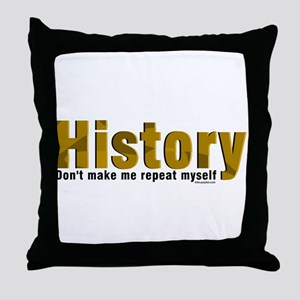 Brown Repeat History Throw Pillow