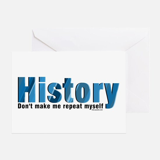 Blue Repeat History Greeting Card