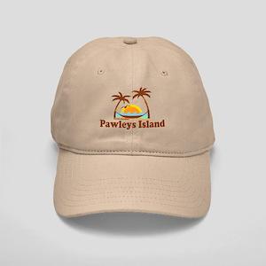 Pawleys Island SC - Sun and Palm Trees Design Cap