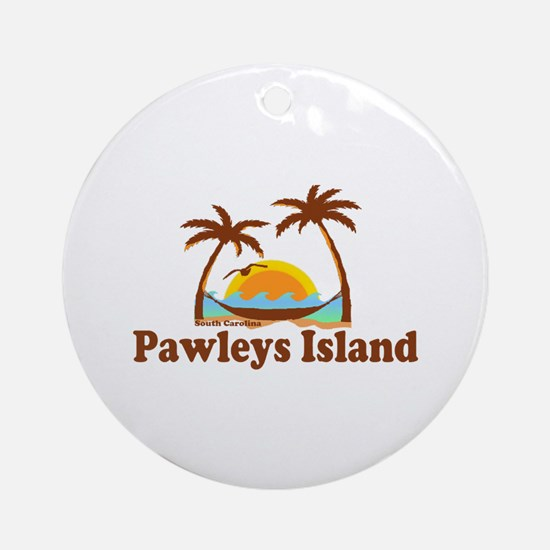 Pawleys Island SC - Sun and Palm Trees Design Orna