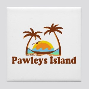 Pawleys Island SC - Sun and Palm Trees Design Tile