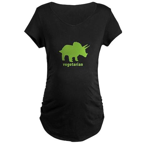 Vegetarian Triceratops - Gree Maternity Dark T-Shi