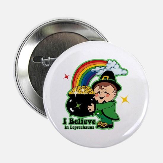 """Believe In Leprechauns 2.25"""" Button"""