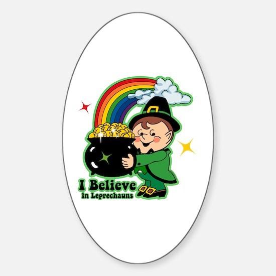 Believe In Leprechauns Sticker (Oval)