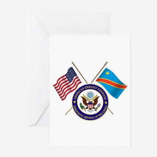 USA & DRC Flags Greeting Card