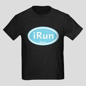 iRun Blue Oval Kids Dark T-Shirt