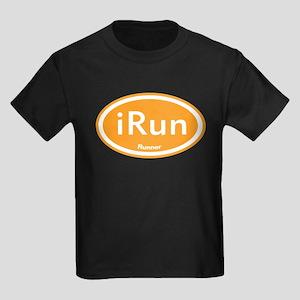 iRun Orange Oval Kids Dark T-Shirt