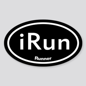 iRun Black Oval Sticker (Oval)
