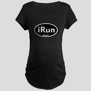 iRun Black Oval Maternity Dark T-Shirt