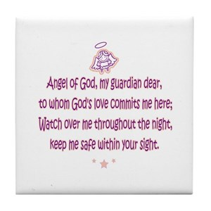 Guardian Angel Prayer 1 Tile Coaster