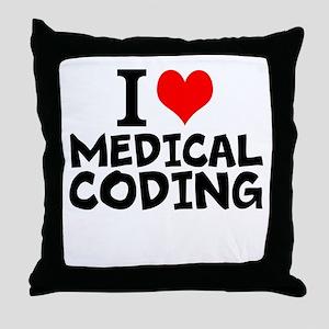 I Love Medical Coding Throw Pillow
